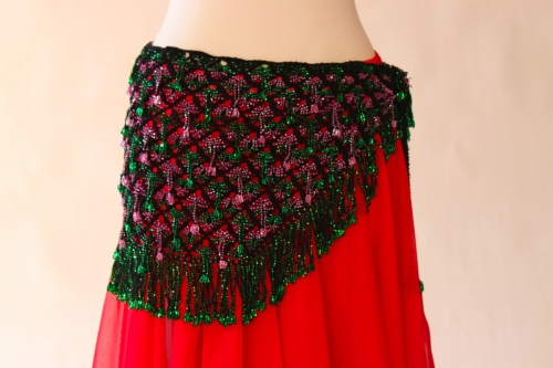 Belly dance fully crocheted beaded belt