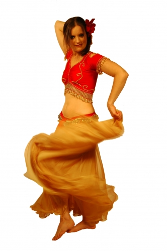 Belly dance chiffon circular skirt - gold with soft red hughes