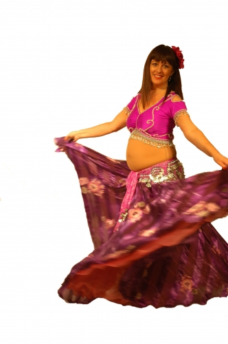 Belly dance lycra top - purple and silver