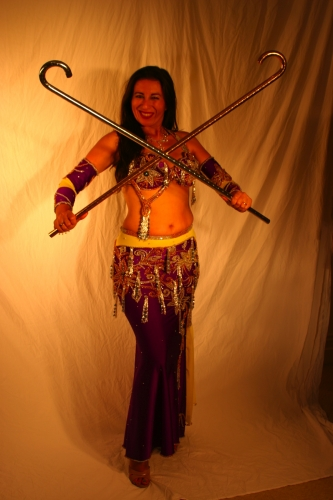 Belly dance costume - Purple, Yellow Silver and Gold