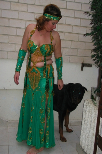 Belly dance costume - Green and Gold