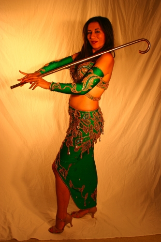 Belly dance costume Emerald green and gold