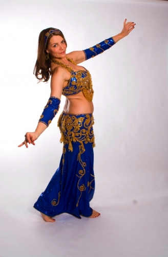 Belly dance costume - Metallic Royal Blue
