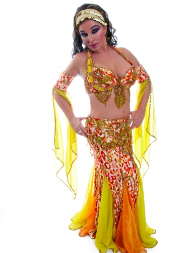 Belly dance cabaret costume - Sun Leopard