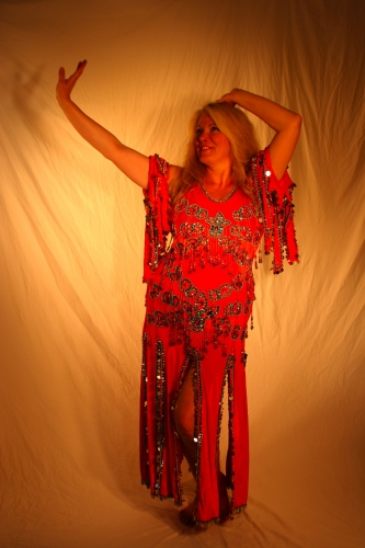 Belly dance cabaret dress - Rich Orange Velvet
