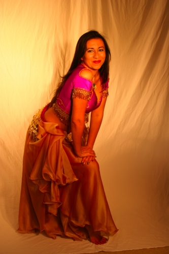 Belly dance lycra top - purple and gold