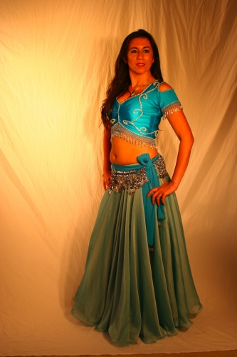 Belly dance lycra top - turquoise and silver