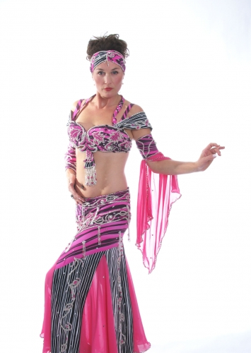 Belly dance cabaret costume - Dance Floor Zebra
