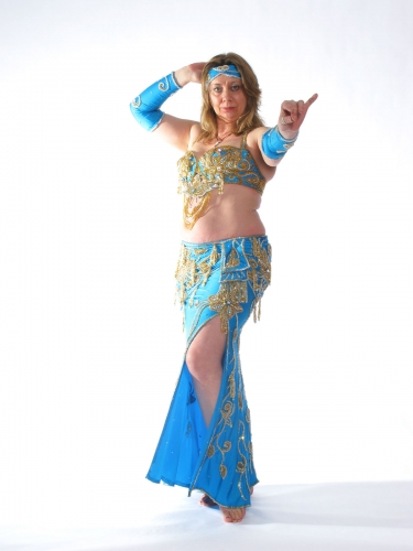 Belly dance costume - Turquoise and Gold