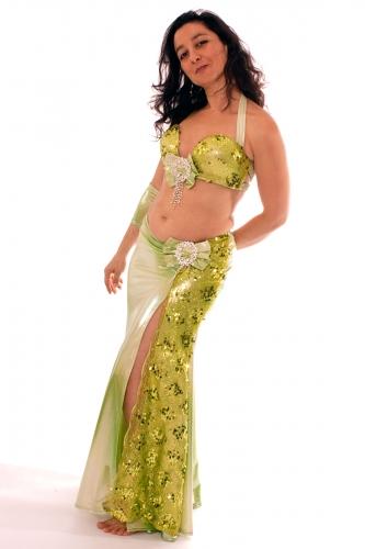 Belly dance costume - Wetlook Lime Green