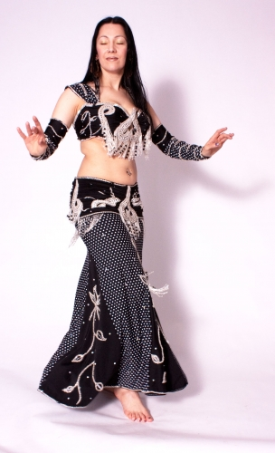 Belly dance cabaret costume - Polka Dots Dancer