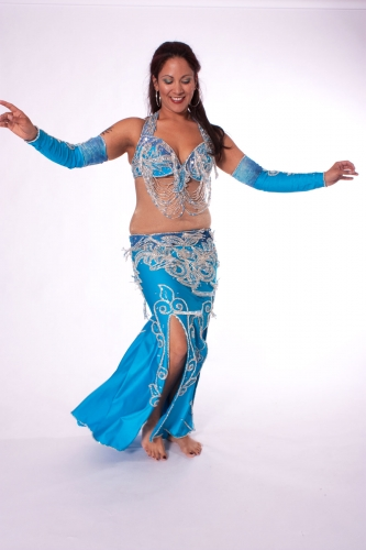 Belly dance costume - Turquoise and Silver