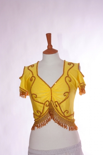 Belly dance lycra top - yellow and gold