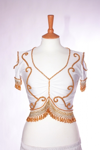 Belly dance lycra top - white and gold