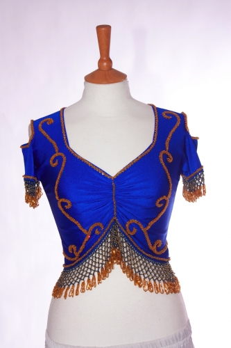 Belly dance lycra top - royal blue and gold