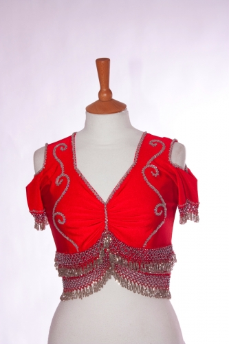 Belly dance lycra top - ruby and silver