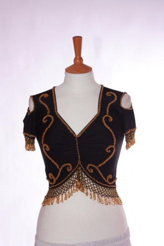 Belly dance lycra top - ebony and gold