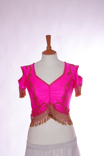 Belly dance lycra top - dark pink and gold