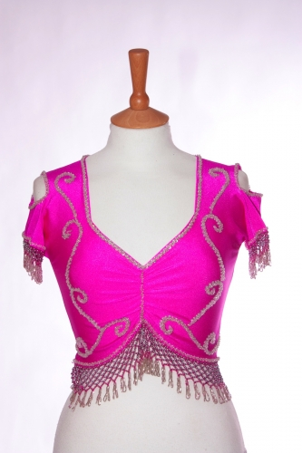 Belly dance lycra top - dark pink and silver