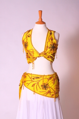 Belly dance lycra two piece practice set - Royal yellow & gold
