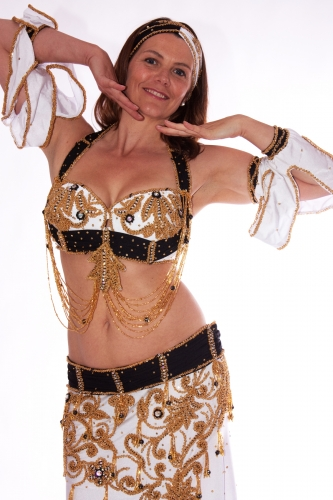 Belly dance costume - Snow and Noir