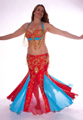 Belly dance costume - True Red and Sky Blue