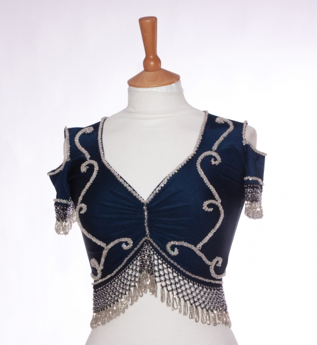 Belly dance lycra top - navy and silver