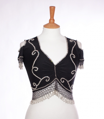 Belly dance lycra top - ebony and silver