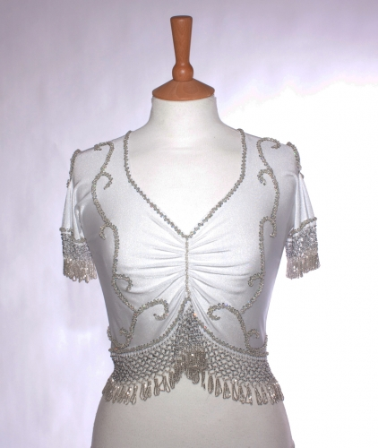 Belly dance lycra top - white and silver