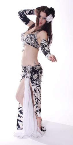Belly dance cabaret costume - Zam Bam Zebra