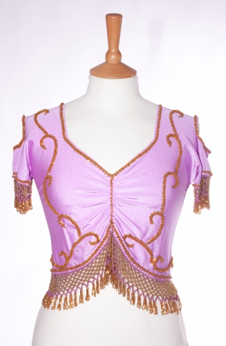 Belly dance lycra top - lilac and gold