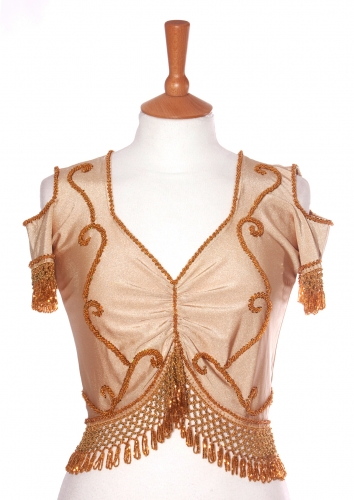 Belly dance lycra top - gold on gold