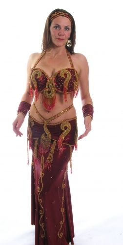 Belly dance costume - Maroon Glamour