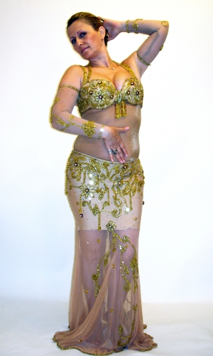 Belly dance costume - Nude with Gold