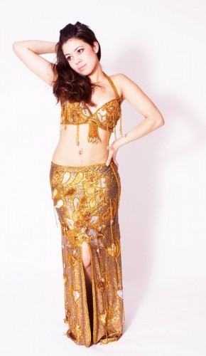 Belly dance costume - Holographic Metallic Gold