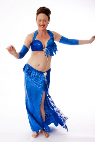Belly dance cabaret costume - Metallic Blue Lace