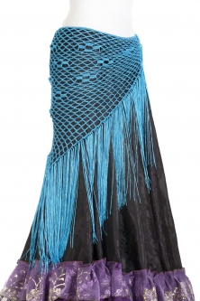 Belly dance crocheted tribal/flamenco wrap - Blue