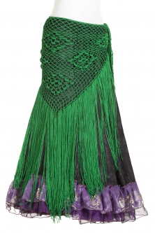 Belly dance crocheted tribal/flamenco wrap - green