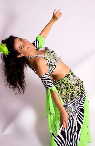 Belly dance cabaret costume - Neon Zebra