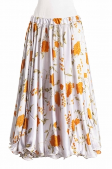 Belly dance exclusive satin print skirt - white