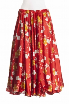 Belly dance exclusive satin print skirt - red