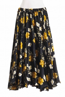 Belly dance exclusive satin print skirt - black