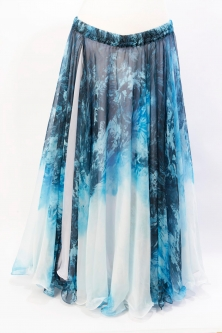 Belly dance fine silk chiffon skirt - Tempest of the North