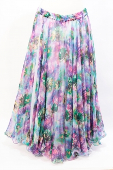 Belly dance fine silk chiffon skirt - Watercolour Magic