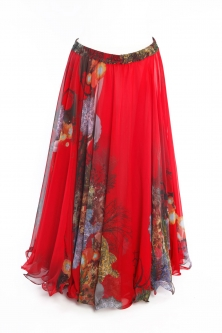 Belly dance superior printed skirt - red marine