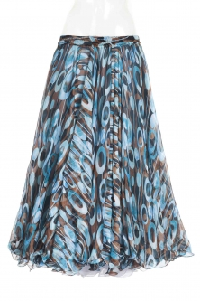Belly dance fine silk chiffon skirt - aqua funk