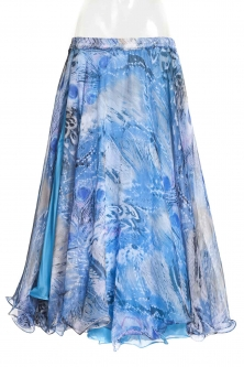 Belly dance fine silk chiffon skirt - water peacock