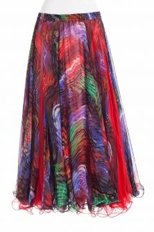 Belly dance fine silk chiffon skirt - dreamscape