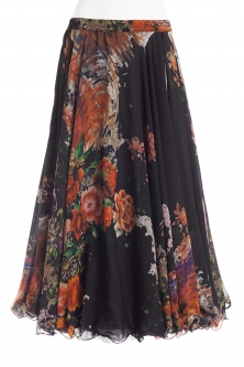 Belly dance fine silk chiffon skirt - blossom on black