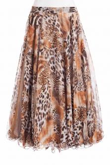 Belly dance fine silk chiffon skirt - fantasy feline